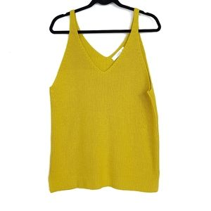 Loft knit sweater v neck tank top mustard yellow